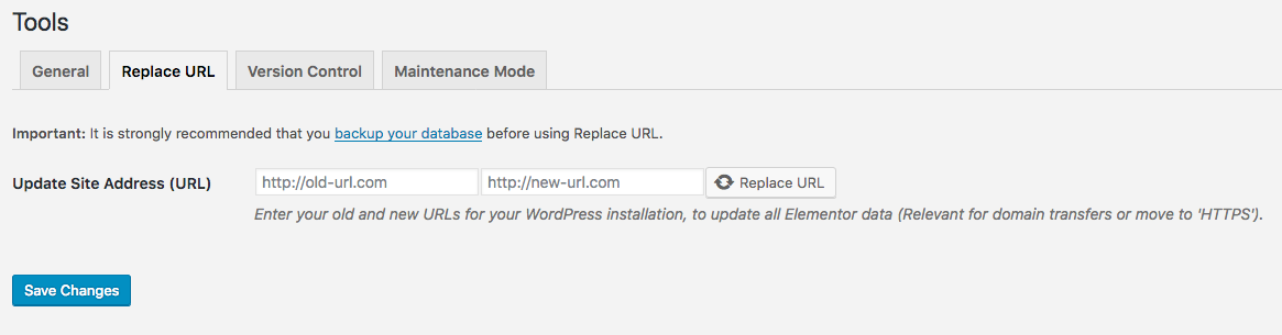 elementor replace url tool